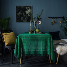 Load image into Gallery viewer, Handmade Crochet Tablecloth,Elegant Rustic Floral Table Decoration,Dark Green Retro American Cotton Hollow Out Table Cloth