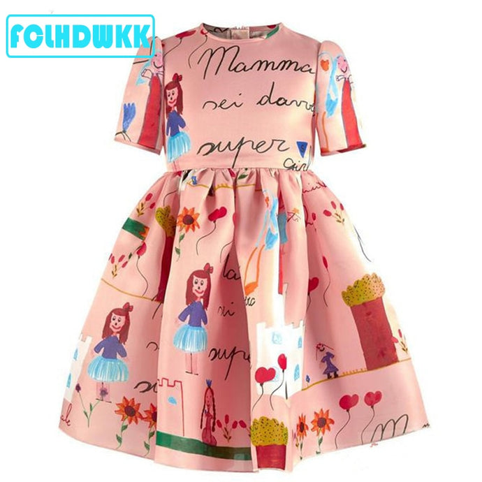New Spring Kids Dresses For Girls Summer High Quality Girls Clothes Fashion Custom Made Graffiti Dress Girls Party Dresses