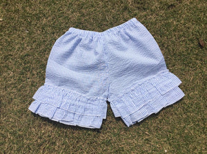 blank boutiqe baby girl ruffle OEM fashionable hot summer high quality slim fit custom made wholesale kids seersucker shorts