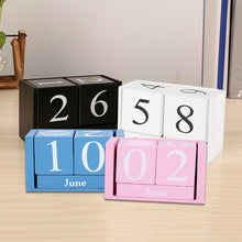 Load image into Gallery viewer, Vintage Wooden Perpetual Desk Calendar Block Planner Permanent Desktop Organizer DIY Agenda EM88