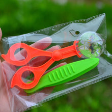 Load image into Gallery viewer, New Nature Exploration Toy Kit Kids Plant Insect Study Tool - Plastic Scissor Clamp Tweezers Inset Round Head Scissors Clamp Toy