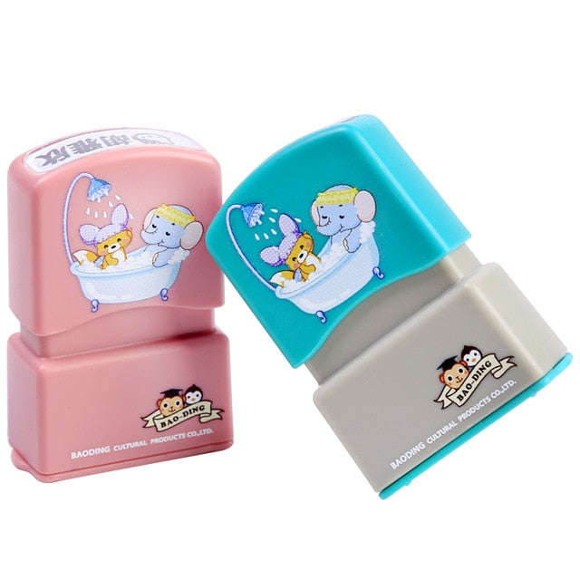 Customized Name Stamp Paints Personal Student Child Baby Engraved Waterproof Non-fading Kindergarten Cartoon Clothing Name Seal