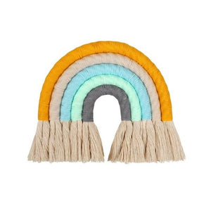Macrame Rainbow Wall Hanging Decorative Colored for Boho Home Decor, Party Supplies, Baby Shower, Nursey Dorm Room