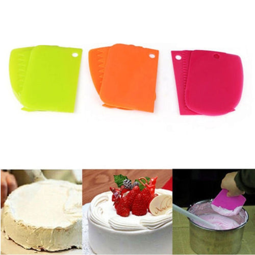 3 pcs/set Kitchen Accessories Tools Dough Cake Fondant Scraper Kitchen Food Decorating Tools Kitchen Gadgets Goods Supplies Bak.
