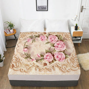 3D Fitted Sheet Custom Single Double King Size Mattress Cover With Elastic Bed Sheet 180x200 Bedding Rose Microfiber Drop Ship