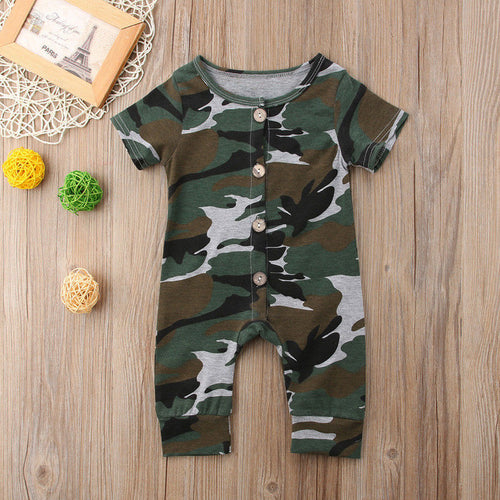Emmababy Newborn Infant Baby Boy Girl Kids Short Sleeve Button Casual Camo Romper Jumpsuit Clothes Outfit