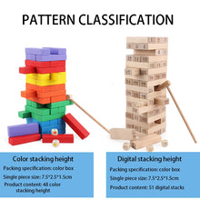 Load image into Gallery viewer, Children Digital Jenga Juego Stacked Solid Pine High-rise Stacked Building Puzzle Children's Toys Adult Board Game Puzzle