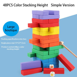 Children Digital Jenga Juego Stacked Solid Pine High-rise Stacked Building Puzzle Children's Toys Adult Board Game Puzzle