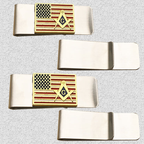 INFITI Gold American Flag Mason TX Wallet Men's Credit Card Holder Wallet Men's Masonic Gift