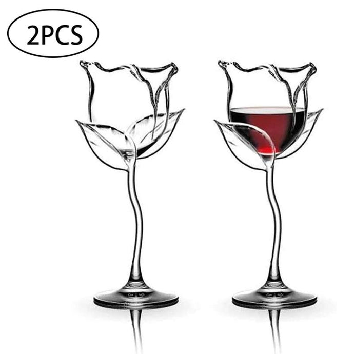 2Pcs Creative Wine Glass Rose Flower Shape Goblet Lead-Free Red Wine Cocktail Glasses Home Wedding Party Barware Drinkware Gifts