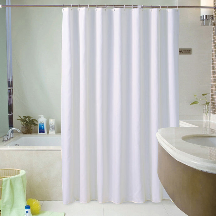 White Shower Curtains Waterproof Thick Solid Bath Curtains For Bathroom Bathtub Large Wide Bathing Cover 12 Hooks rideau de bain