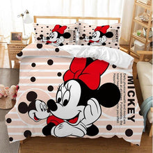 Load image into Gallery viewer, Couple Mickey Minnie Cartoon Bedding Set Children Twin Full  King Single Double Size Duvet Cover Pillow Cases Girl Boy baby Gift
