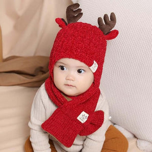 Doitbest 8 months to 3 Years kids Beanie little deer kid boys Knit hats winter 2 pcs fur baby girls winter hat and scarf