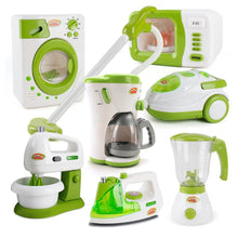 Load image into Gallery viewer, 7 Types 1 Set Pretend Play Housekeeping Toy Simulation Vacuum Cleaner  Cleaning Juicer Washing Sewing Machine Mini Clean Up Toy