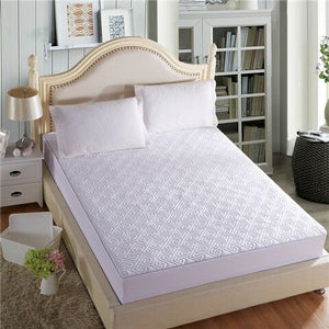 Quilted Mattress Cover Solid Color King Queen Size Quilted Bed Fitted Sheet Thicken Soft Bed Protector Pad Cover Hot Sale