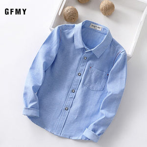 GFMY 2020 New Spring Autumn Oxford Textile Full Sleeve Solid color Blue boys white Shirt 3T-14T Kid Casual  School Clothes