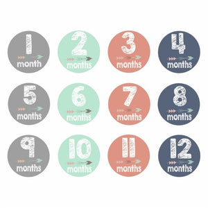 12 Pcs Month Sticker Baby Photography Milestone Memorial Monthly Newborn Kids Commemorative Card Number Photo Props Accessories