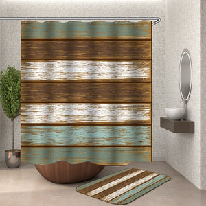 Wooden Curtains Waterproof Shower Curtains Bathroom polyester Bath Curtain Shower with Hooks bathroom bath curtain Or Mat