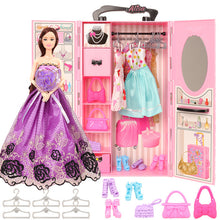 Load image into Gallery viewer, Fashion dollhouse Accessories Clothes Dresses Toys For Kids Doll Wardrobe closet dolls house furniture For Barbie Game DIY Gift
