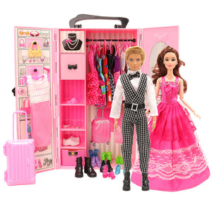 Fashion dollhouse Accessories Clothes Dresses Toys For Kids Doll Wardrobe closet dolls house furniture For Barbie Game DIY Gift