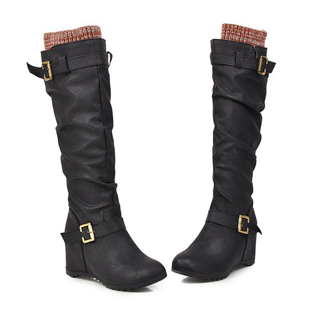 Boots Women 2019 New Women Western Cowboy Knee Boots Winter Warm Outdoor Punk Boots Smooth PU Leather Women Shoes Botas Mujer