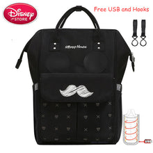 Load image into Gallery viewer, Disney Mummy Diaper Backpack USB Bottle Insulation Bags Minnie Mickey Mouse Big Capacity Travel Oxford Feeding Baby Care Handbag