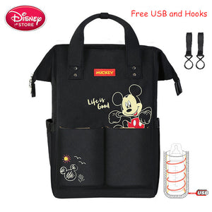 Disney Mummy Diaper Backpack USB Bottle Insulation Bags Minnie Mickey Mouse Big Capacity Travel Oxford Feeding Baby Care Handbag