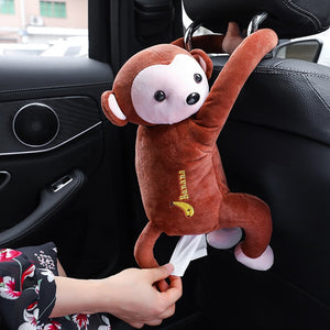 PP Cotton  Car Hanging Accessories Cute Monkey Tissue Box Portable Car Decoration  Home Office Car Accessories for Girls Kids