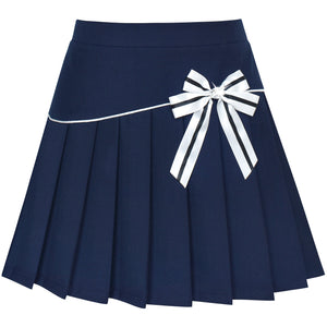 Girls Skirt Navy Blue Pleated Bow Tie Back School Uniform 2020 Summer Princess Wedding Party Girl Clothes Pageant Carnival