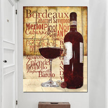 Load image into Gallery viewer, Red Wine Glasses Bottle Quote Poster Print Modern Kitchen Oil Painting On Canvas Wall Art Painting Bar Dining Room Decoration