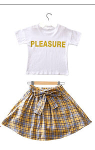 2020 Summer Casual Teenage Clothes For Girls Plaid Skirt + White T-shirt Clothing Set Kids Clothes Girls Japanese School Outfits