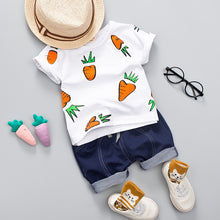 Load image into Gallery viewer, Kid Boy Girl Clothing Set  Baby Casual Cute Radish Print Shirt Clothes Cute Cartoon School Bag Boys Suit
