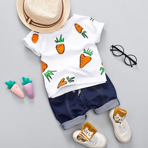 Kid Boy Girl Clothing Set  Baby Casual Cute Radish Print Shirt Clothes Cute Cartoon School Bag Boys Suit