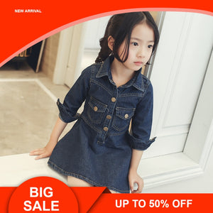 Autumn dresses for School Girls Brand Europe Princess denim Dress Costumes for Kids clothes children Toddler jean coat dress