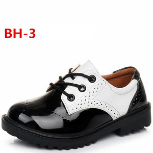 Children leather shoes kids black white school student performance shoes British casual laces soft leather shoes  size 26 to 42
