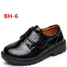 Load image into Gallery viewer, Children leather shoes kids black white school student performance shoes British casual laces soft leather shoes  size 26 to 42
