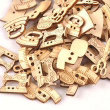 Load image into Gallery viewer, 25pcs 18-30mm Natural Sewing Tool Wood Crafts DIY Scrapbooking For Wooden Ornament Home Decoration Sewing Accessories m0901x