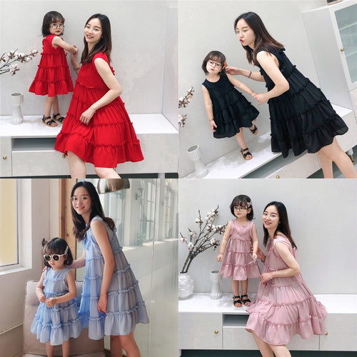 2019 Summer Mommy and me Chiffon Sleeveless Dresses Family Matching Outfits Mother Daughter Dress Girls Beach Vacation Clothes