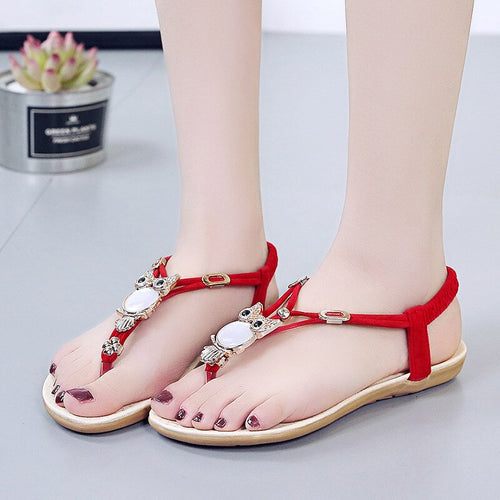 Cartoon Owl Shoes Women Sandals 2020 Summer Beach Slippers Flip Flops Casual Ladies Flat Brand Summer Shoes Black Red L033