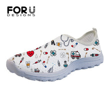 Load image into Gallery viewer, FORUDESIGf Cashionartoon Nurse/Premium Sketch Print Women's Casual Shoes Flats Beach Comfortable Mesh Slip-on Brand Women Sneakers