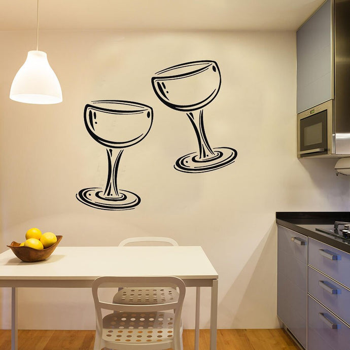 Two Glasses Of Wine Champagne Kitchen Wall Sticker Cafe Restaurant Wall Decal Living Room Bedroom Home Decor Vinyl Art Murals