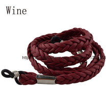 Load image into Gallery viewer, Retail PU Leather Eyeglasses Sport Cord Chain String Holder glasses chain 7mm width black Wine glasses Band Strap