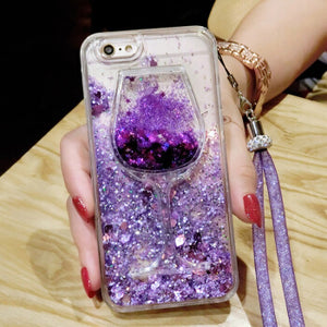 Love Heart Stars Glitter Case For iPhone 11 Pro MAX X XS MAX XR 6 6S7 8 Plus Dynamic Liquid Quicksand Wine Glasses Soft Cover