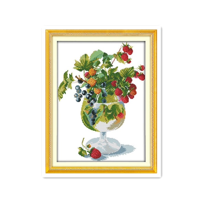 Strawberries and wine glasses diy sewing handmade sewing kits simple modern cross stitch crafts decorative accessories painting