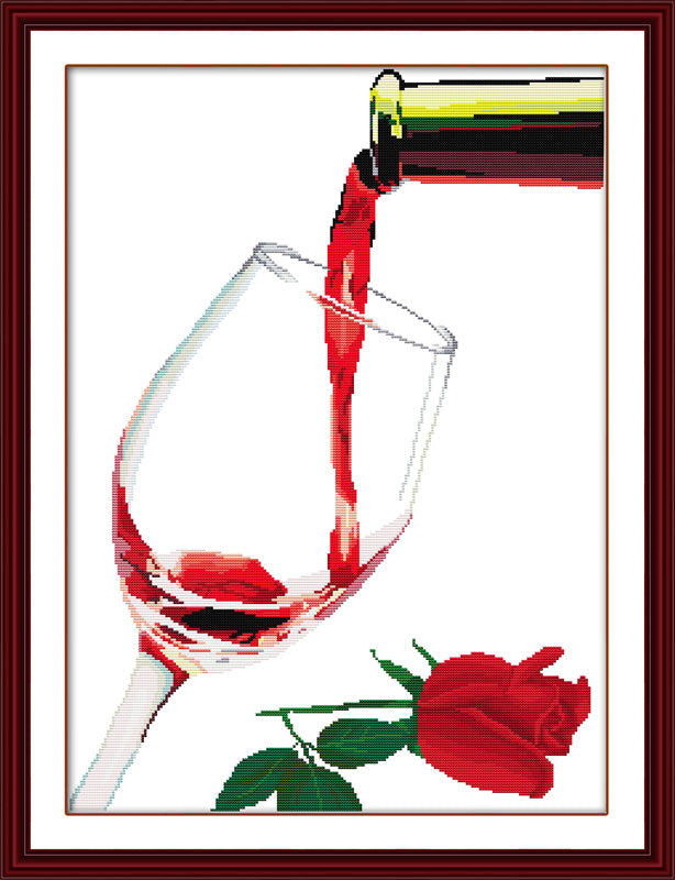 Roses red wine glasses Cross Stitch Kits Printed patterns canvas Chinese Embroidery Needlework set Easy DIY Cross-stitch DMC