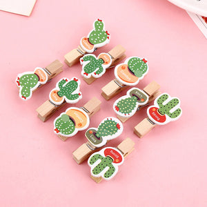 10Pcs/Set Colored Wooden Clip Christmas Decor Cute Avocado Rabbit Cactus Memo Paper Clips Stationery Clothespin Craft Clips Pegs