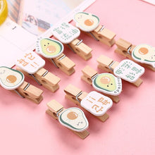 Load image into Gallery viewer, 10Pcs/Set Colored Wooden Clip Christmas Decor Cute Avocado Rabbit Cactus Memo Paper Clips Stationery Clothespin Craft Clips Pegs