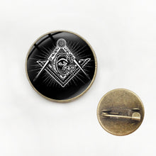 Load image into Gallery viewer, Black Masonic illuminati Eye Symbol Brooch Retro Freemason G Templar Metal Pin Badge Brooch Shirt Clothing Decorations