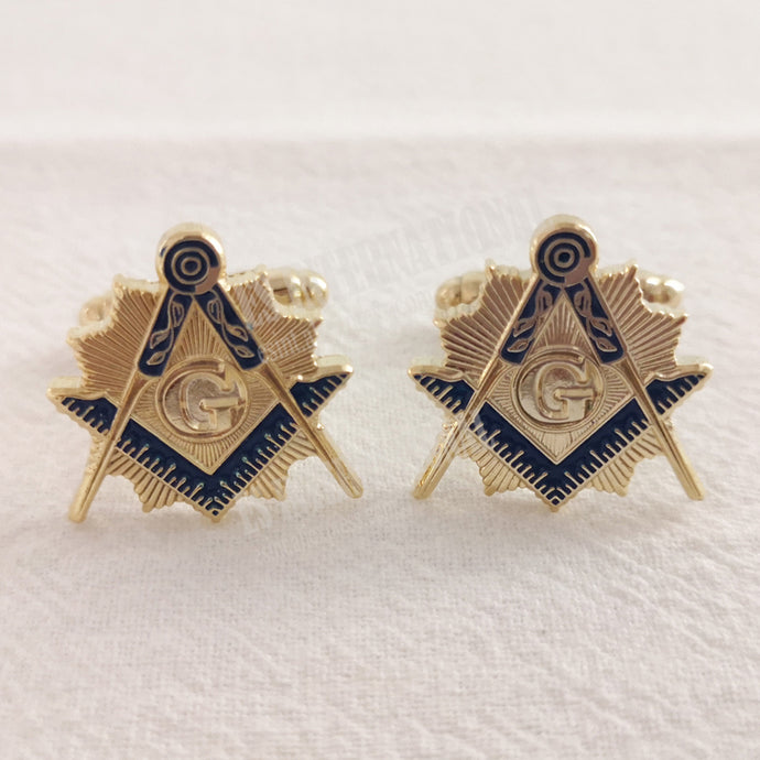 one pair Freemason Masonic Cufflinks Blue Lodge  gold color 3D Design Commemorative ornaments Clothing accessories C2