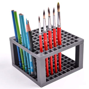 96 Holes Multifunctional Paint Brushes Holder Square Pen Stand Pencil Storage Rack Painting Organizer School Art Supplies